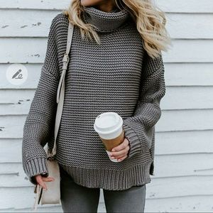 Solid knit commuter turtleneck sweater